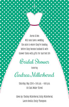 Stitched Bride Polka Dots Emerald Bridal Invitations