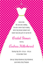 Stitched Bride Polka Dots Hot Pink Bridal Invitations