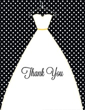 Stitched Bride Polka Dots Black Thank You Cards