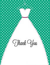 Stitched Bride Polka Dots Emerald Thank You Cards