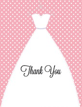 Stitched Bride Polka Dots Pink Thank You Cards
