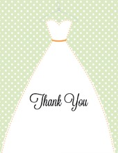 Stitched Bride Polka Dots Sage Thank You Cards