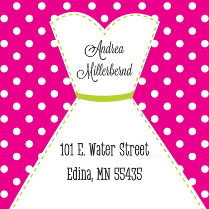Stitched Bride Polka Dots Hot Pink Thank You Cards