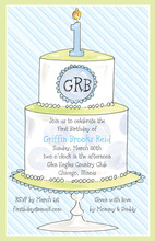 1st Birthday Tiered Cake Blue Invitation
