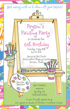 Art Easel Multicolored Paint Border Invitation