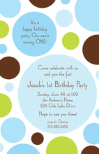 Blue Chocolate Lime Dots Invitation