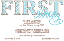 First Birthday Blue Patterns Invitation