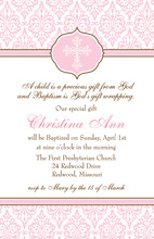Fancy Pink Cross Invitation