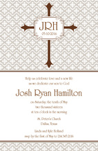 Khaki Stripe Cross Invitation