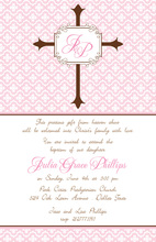 Pink Stripe Cross Invitation
