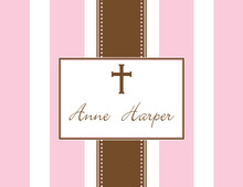 Pink Stripe Cross Thank You Cards