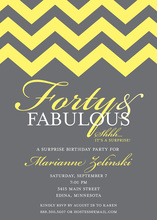 Fabulous Yellow Chevron Forty Birthday Invitations