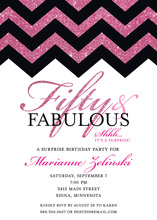 Fabulous Hot Pink Glitter Chevron Fifty Invitations