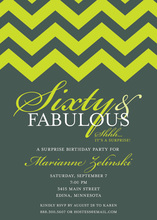 Fabulous Lime Chevron Sixty Birthday Invitations