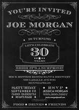 Fancy Chalkboard Surprise Birthday Invitations