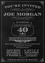 Chalkboard Surprise 40th Birthday Invitations