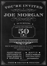 Chalkboard Surprise 50th Birthday Invitations