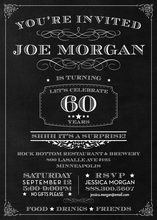 Chalkboard Surprise 60th Birthday Invitations