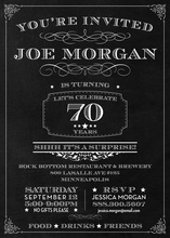 Chalkboard Surprise 70th Birthday Invitations