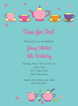 Hot Pink Tea Party Invitations