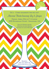 Margarita Glass Multi Chevron Invitation