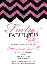 Hot Pink Glitter Chevron Forty Fabulous Invites
