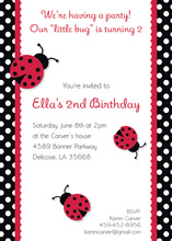 Lovely Polka Dot Lady Bugs Invitation