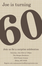 Oversized Turning 60 Khaki Birthday Invites