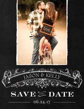 Nameplate Save The Date Chalkboard Enclosure Cards