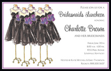 Black Bridesmaids Dresses Purple Floral Invitation
