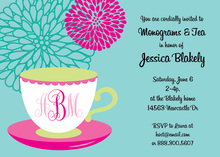 Tea Cup Monogram Firework Floral Invitations