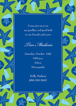 Royal Blue Starfish Border Invitations