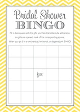 Yellow Chevron Bridal Shower Bingo Game Cards