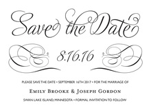 Black Script Flourish Date Frame Invitation