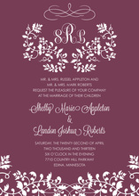 Elegant Floral Filigree Monogram Wine Invitations