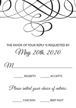 Black Meandering Flourish RSVP Cards
