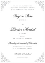 Grey Calligraphy Swash Stylish Border Invitations