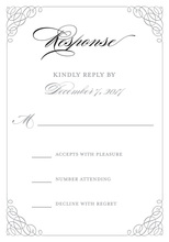 Grey Calligraphy Swash Border RSVP Cards