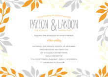 Framing Orange Grey Leaf Invitations