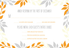 Orange and Grey Leaf Border RSVP Cards