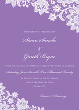 Stylish French Lilac Floral Lace Wedding Invitations
