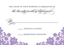 Formal French Lilac Floral Lace RSVP Cards