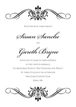 Black Victorian Ornamental Flourish Invitations