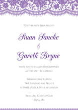 Elegant Floral Lace Purple Invitations