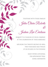 Exquisite Raspberry Grey Foliage Invitations