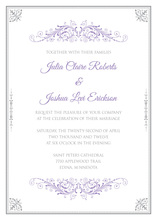 Stylish Victorian Corners Grey Purple Invitations