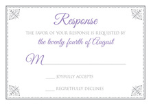 Antique Victorian Corners Grey Purple RSVP Cards