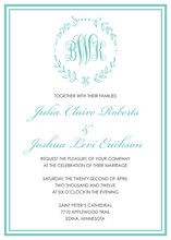 Whimsical Laurel Leaf Monogram Turquoise Invitations