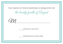 Turquoise Double Border RSVP Cards