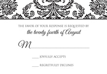 Formal Elegant Black Damask RSVP Cards